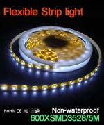 Flexible strip light, 120pcs 3528 leds, Non-waterproof..