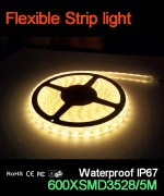 Flexible strip light, 120pcs 3528 leds, Waterproof IP67..