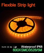Flexible strip light, 120pcs 3528 leds, Waterproof IP68..