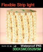 Flexible strip light, 60pcs 3528 leds, Waterproof IP65..