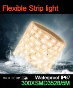 Flexible strip light, 60pcs 3528 leds, Waterproof IP67..