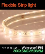Flexible strip light, 60pcs 3528 leds, Waterproof IP68..